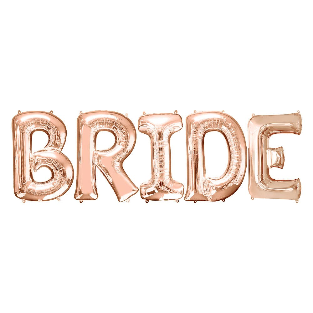 "Jumbo Rose Gold 32"" BRIDE Balloon Letter Kit"