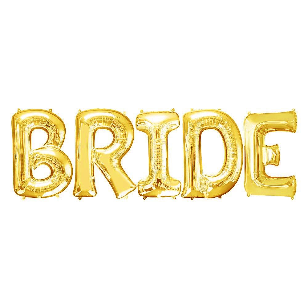 "Jumbo 32"" BRIDE Balloon Letter Kit (Gold)"