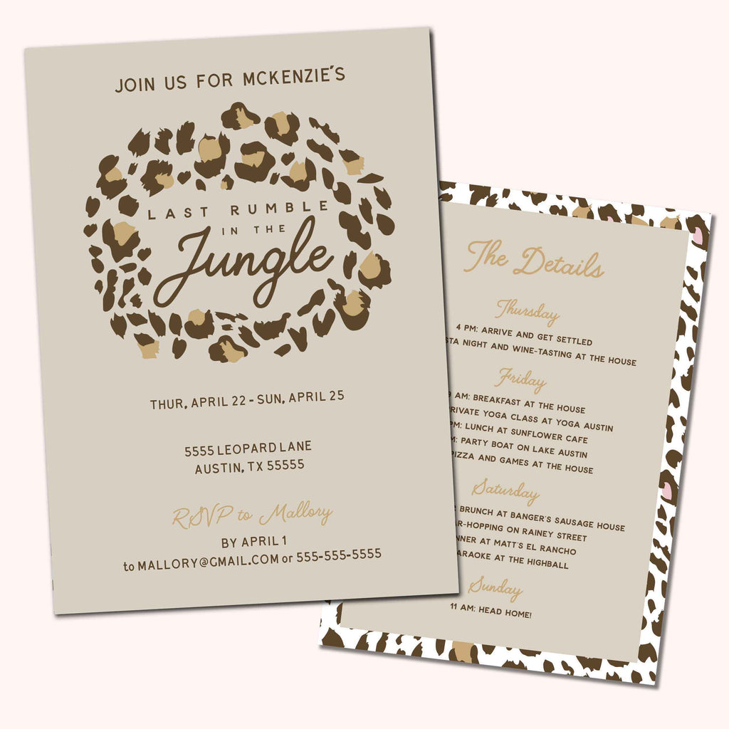 Last Rumble In The Jungle Animal Print Bachelorette Party Invitation