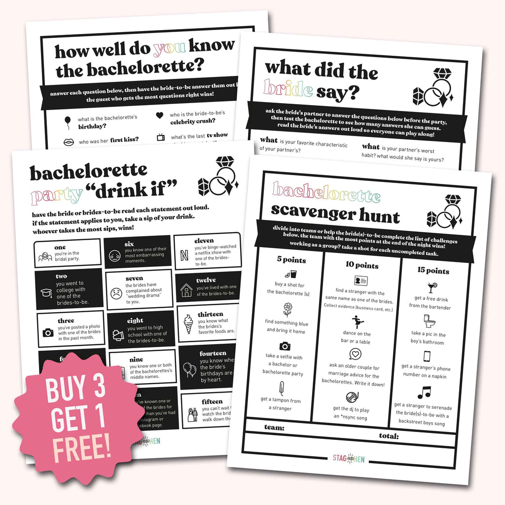 Lesbian Bachelorette Party Games | Digital Download | Printable PDF Party Activity