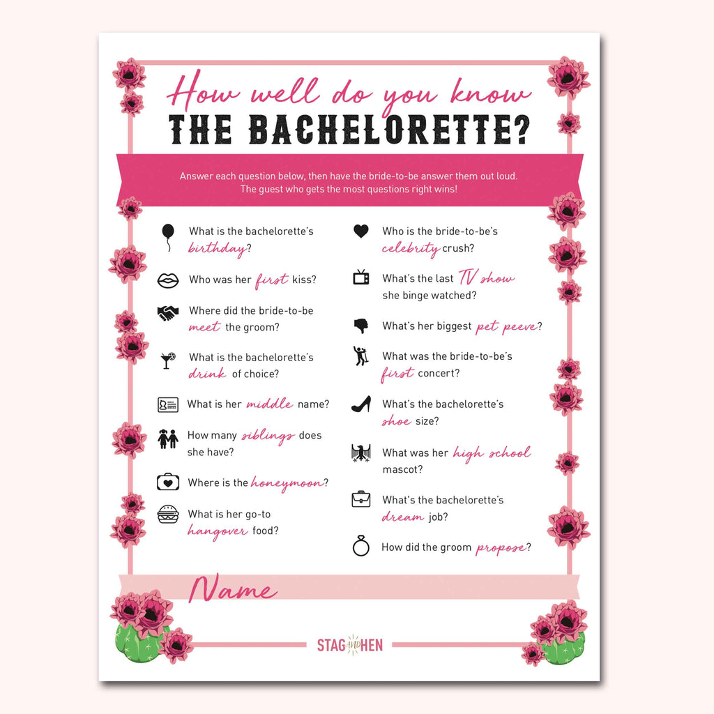 Nashville Bachelorette Party Games | Digital Download | Printable PDF Party Activity