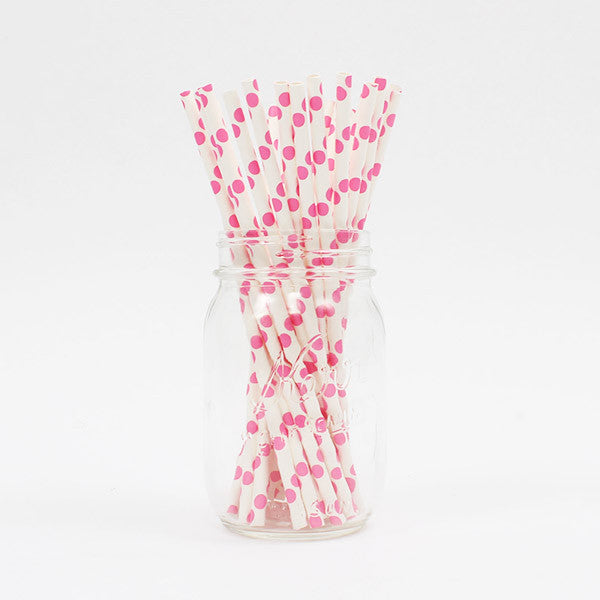 Pink Polka Dot Party Straws - Stag & Hen