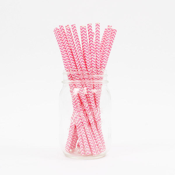 Pink Chevron Party Straws - Stag & Hen