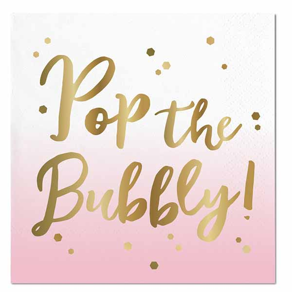 Pop The Bubbly Napkins - Stag & Hen