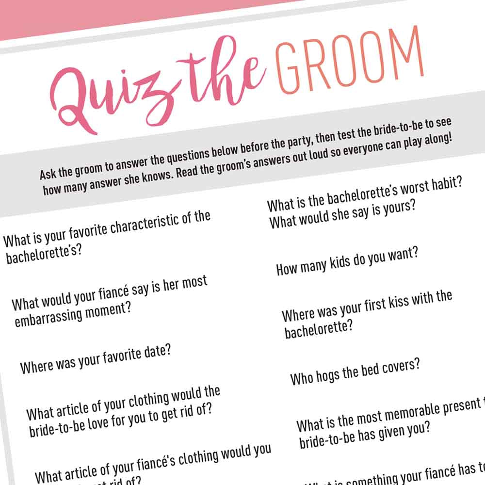 Bachelorette Party Game Printable - Groom Quiz – Stag & Hen