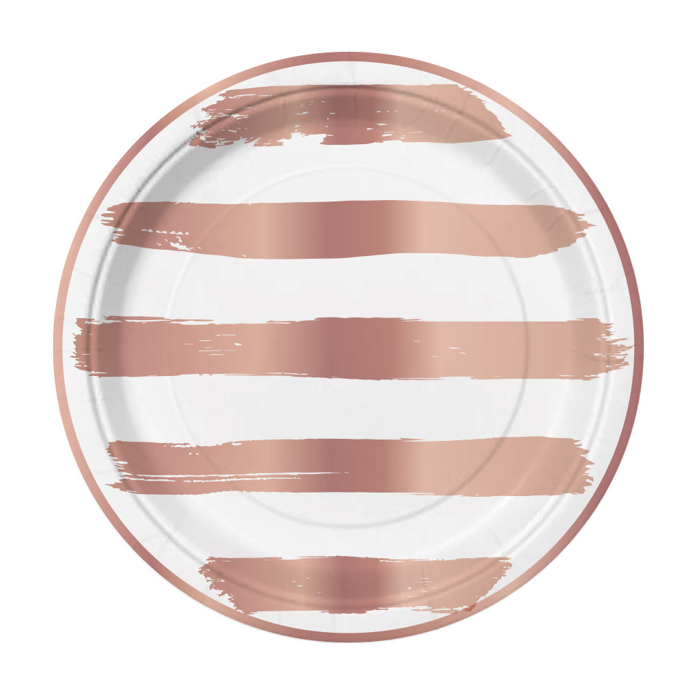 Rose Gold Stripe Snack Plates - Stag & Hen