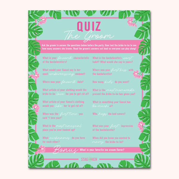 Tropical Beach Bachelorette Party Games | Digital Download | Printable PDF Party Activity