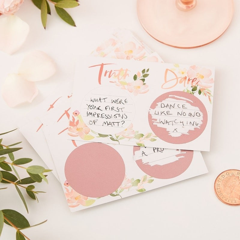 Bachelorette Party Supplies - Floral Truth or Dare Scratch Off Cards