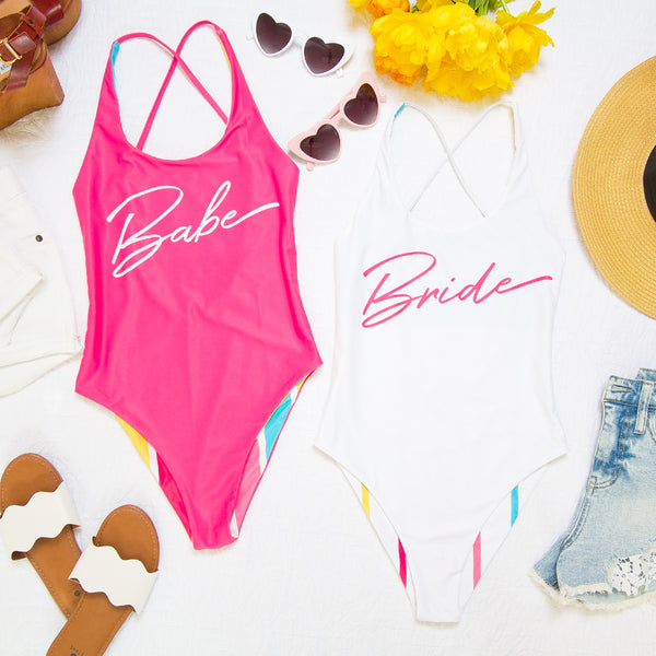 Bride's Babes Reversible Bachelorette Party Swimsuits