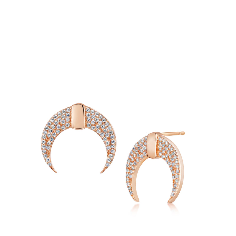 Lily crescent stud earrings rose gold