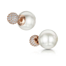 Dianna Double Ball Earrings - White/Rose Gold