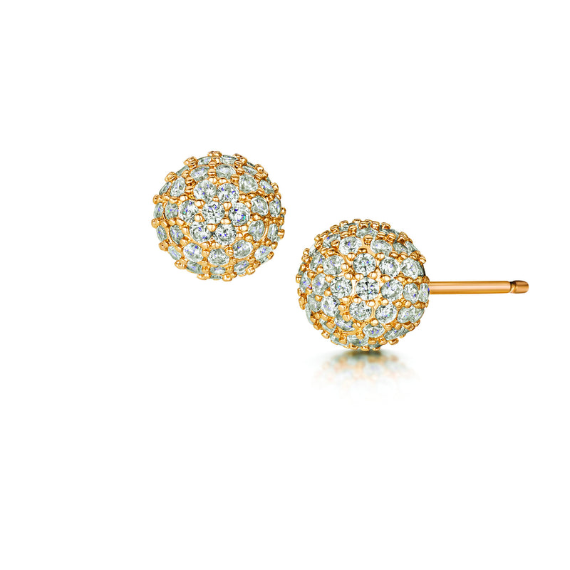 gold pave stud earrings
