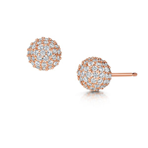 pave stud earrings rose gold