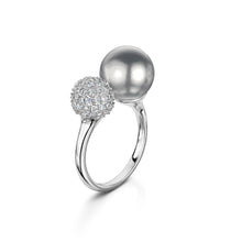 pearl and pave adjustable ring rhodium