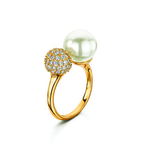pearl and pave adjustable ring gold