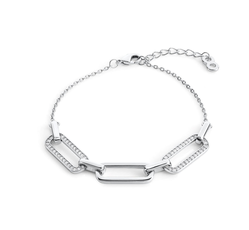 Load image into Gallery viewer, Link chain Pave bracelet- Rhodium
