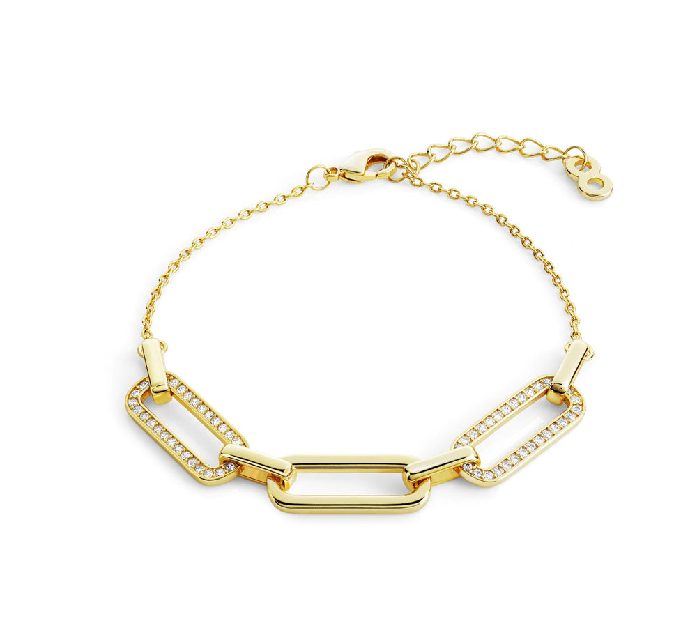 Link chain Pave bracelet- Yellow gold