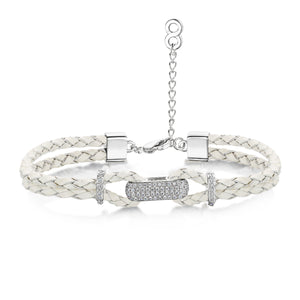 Alana Leather Bracelet Rhodium/Grey
