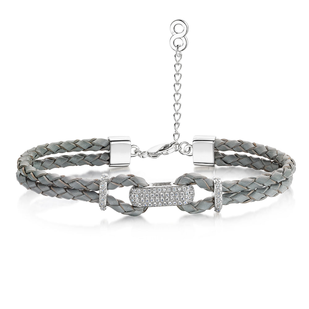 Load image into Gallery viewer, Alana Leather Bracelet Rhodium/Slate