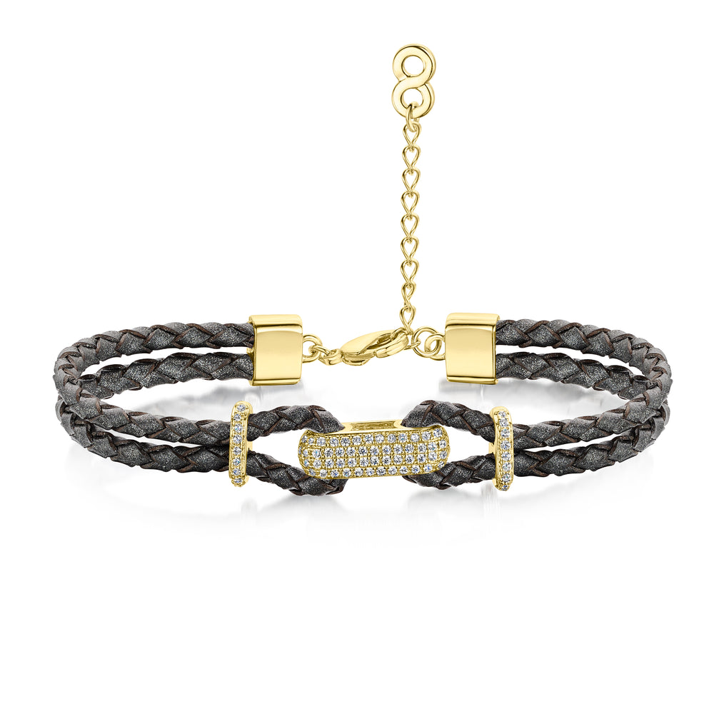 Load image into Gallery viewer, Alana Bracelet- Braided Leather Bracelet- Yellow Gold Bracelet