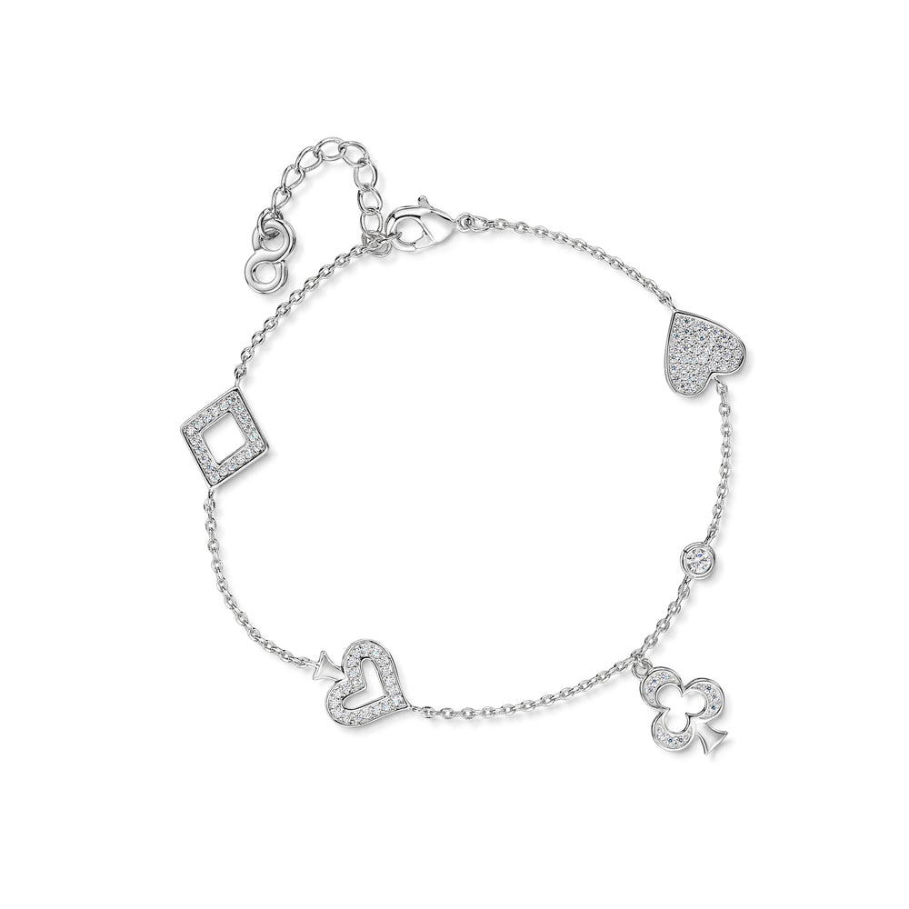 Heart spade diamond club Rhodium Bracelet