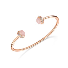 rosanna rose gold cuff with semi precious rose quartz