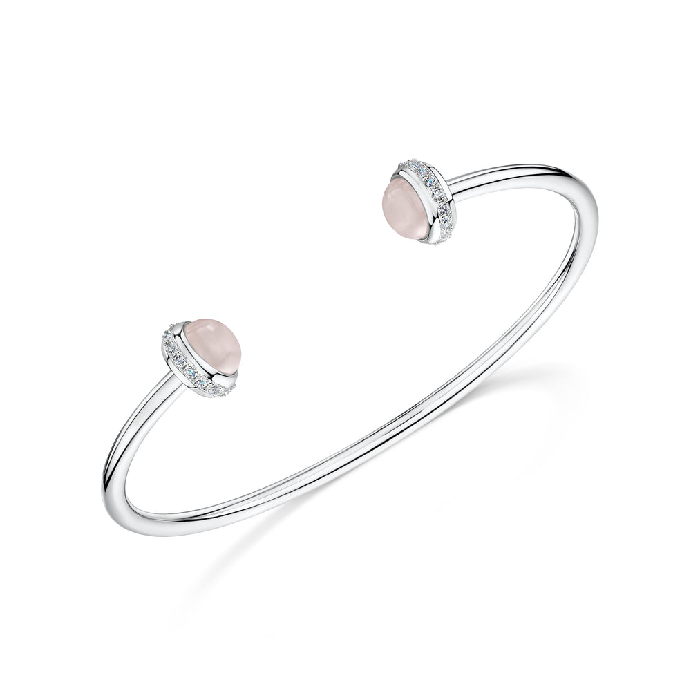 rosanna rhodium cuff with semi precious rose quartz