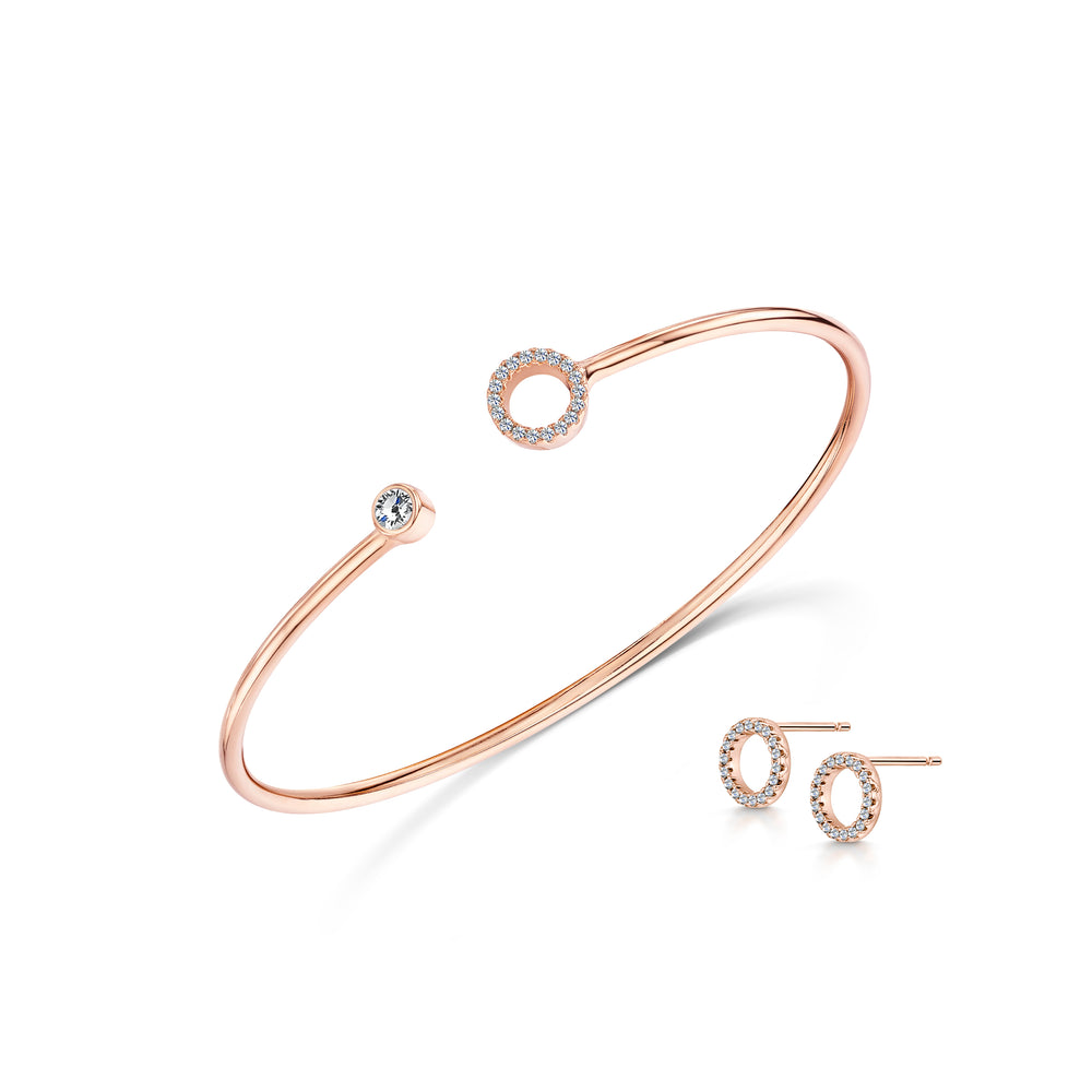 Lexi Cuff & Pave Earring set Rose Gold