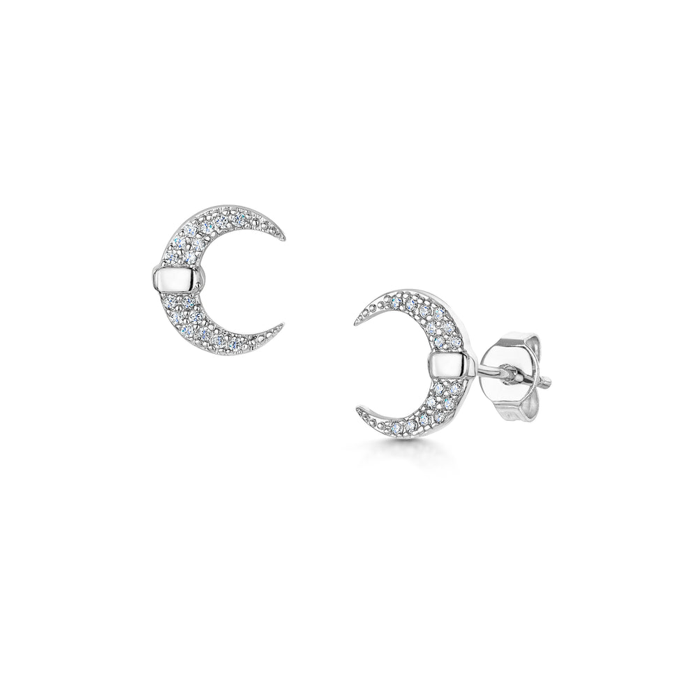 Lily crescent stud earrings rhodium