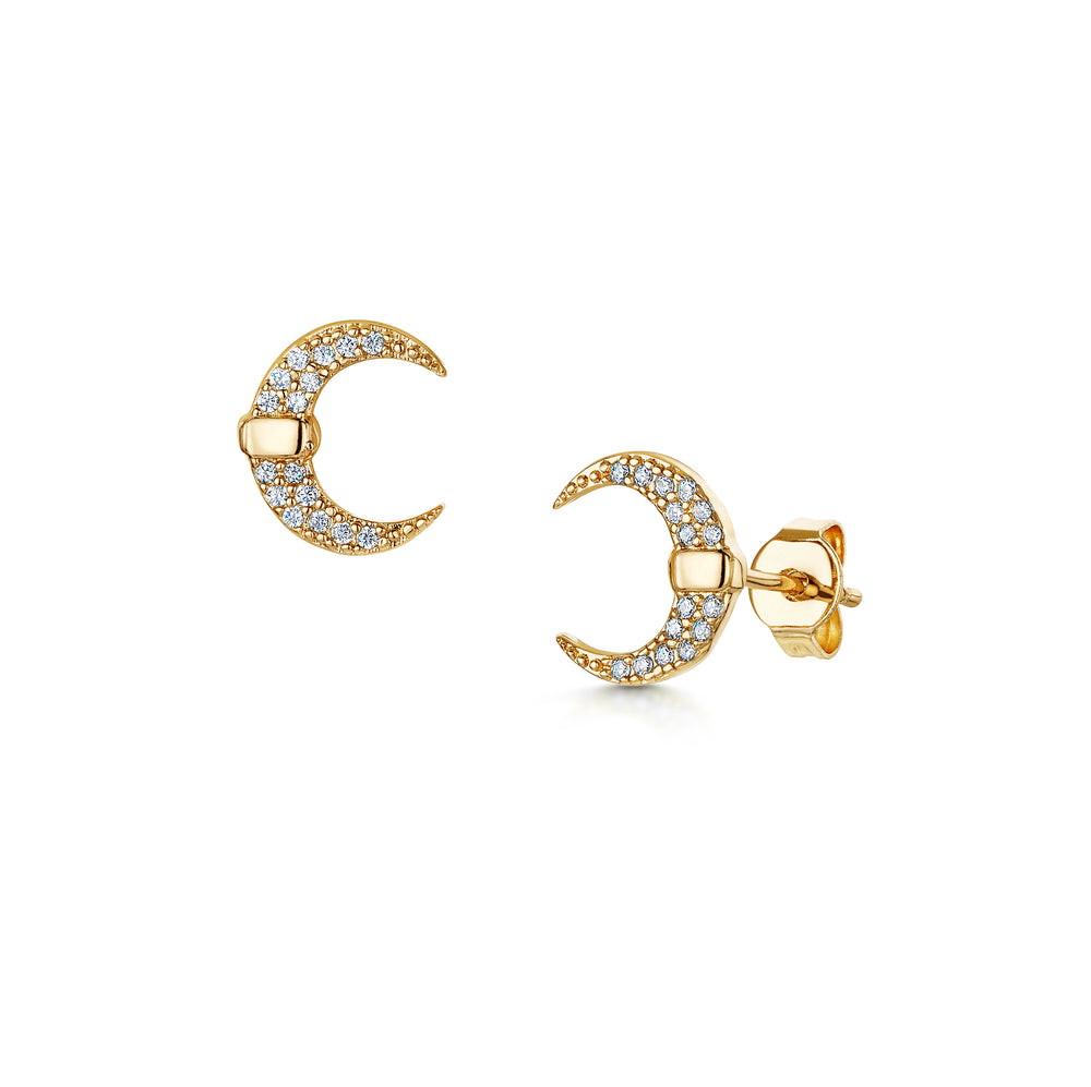 Lily crescent stud earrings gold