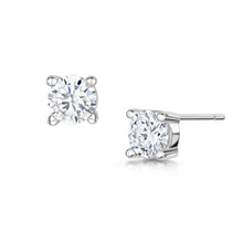 Anya Earrings 6mm 4 Claw - Rhodium