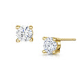 Anya Earrings 6mm 4 Claw - Gold