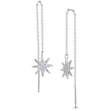 rhodium star earrings