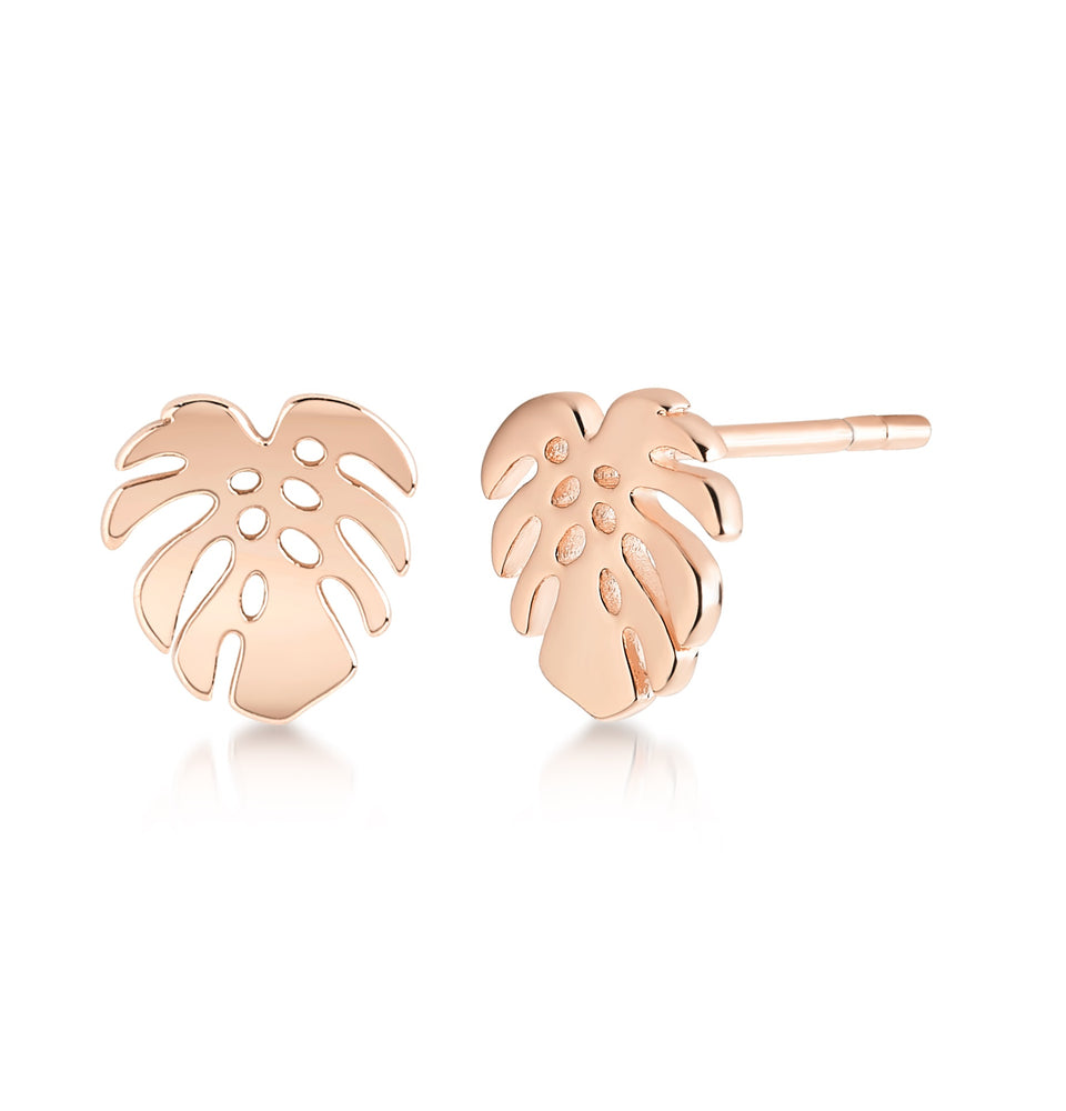 Tropical leaf earring- Rose Gold