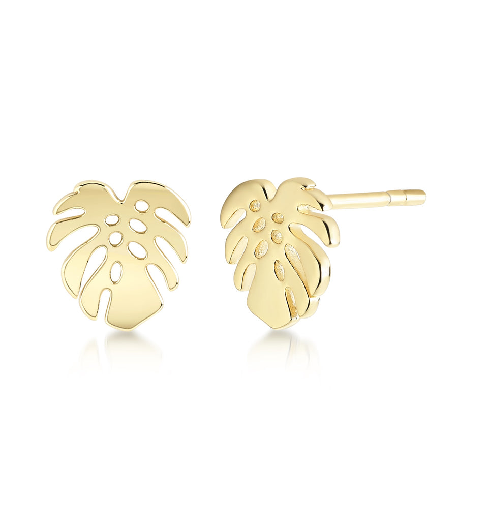Tropical leaf earring- Yellow gold