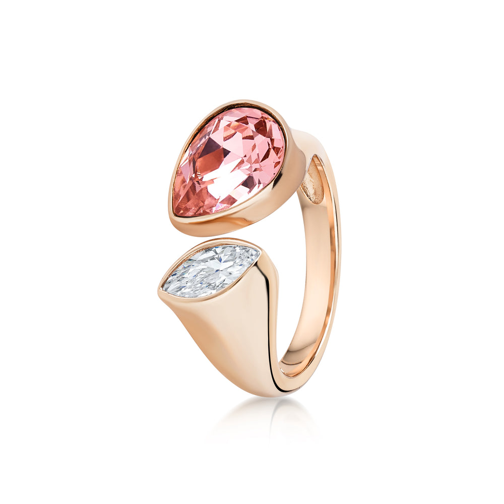 Pear shaped adjustable ring- Rose gold