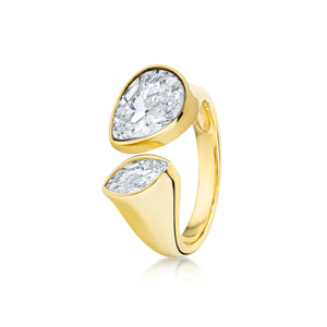 Pave Pear shaped ring- Yellow Gold