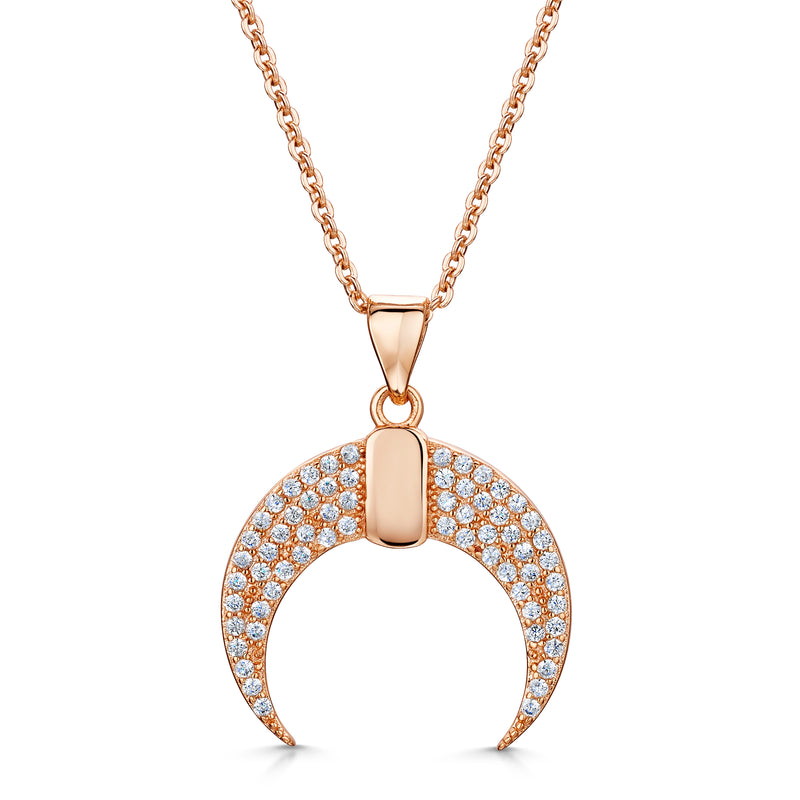 Lily crescent pendant rose gold