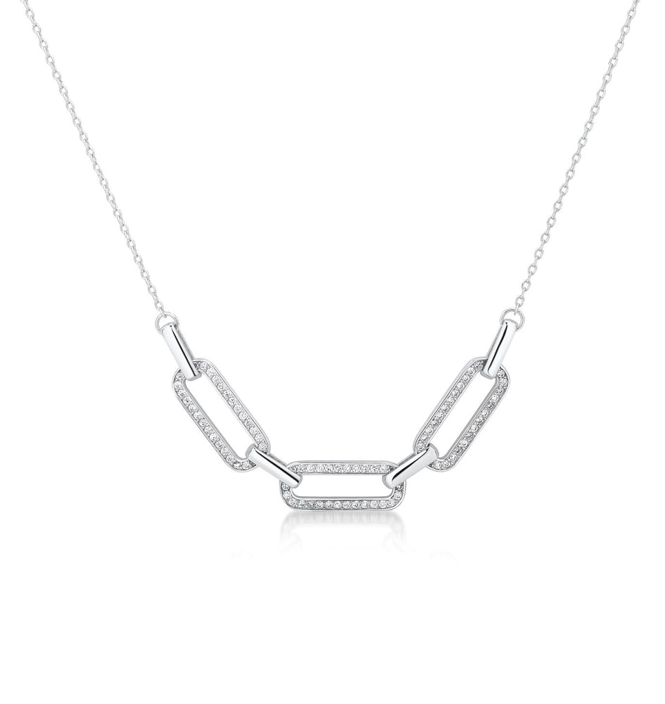Load image into Gallery viewer, Link chain Pave pendant- Rhodium