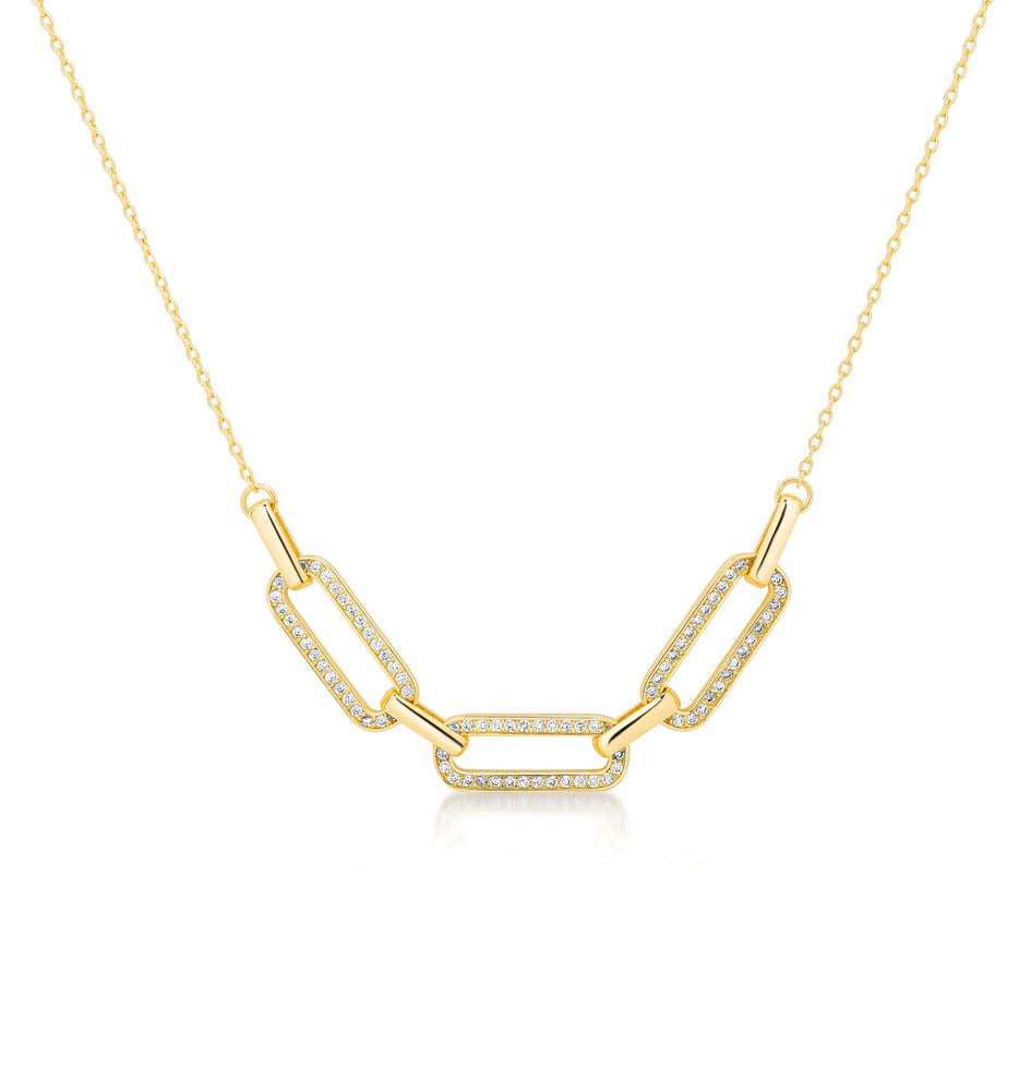 Link chain Pave pendant- Yellow gold
