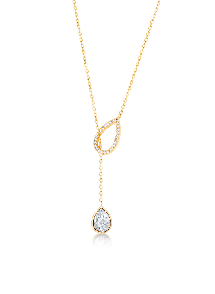 Pave Pear shaped necklace- Yellow Gold