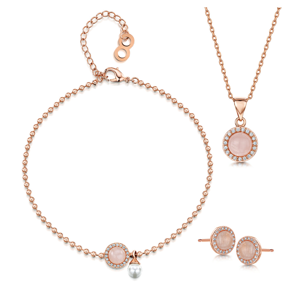 Rosanna Pendant, Bracelet and Stud Set Rose Gold
