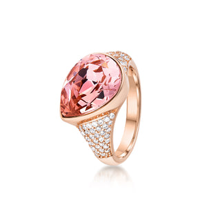Pave Pear shaped ring- Rose Gold