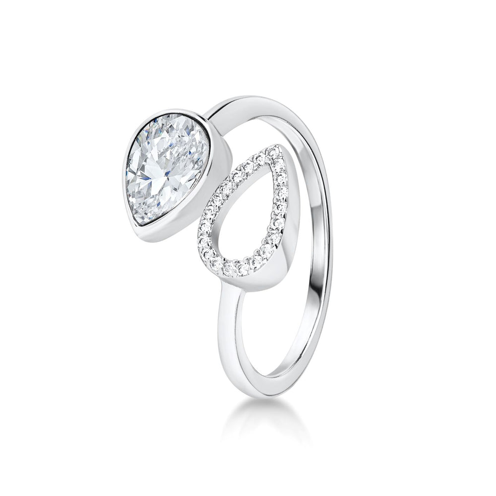 Pave Pear shaped ring- Rhodium