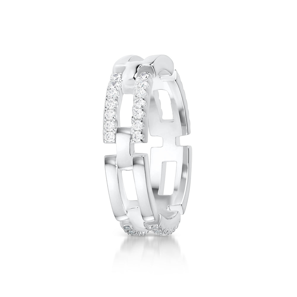 Link chain Pave ring- Rhodium