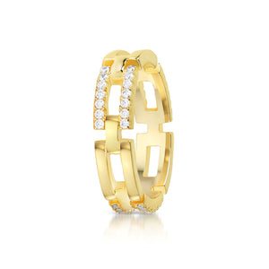 Link chain Pave ring- Yellow gold