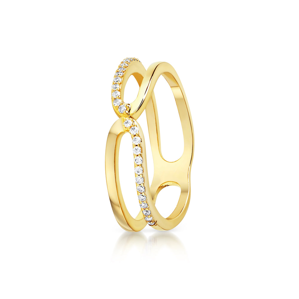 chain link ring- Yellow gold