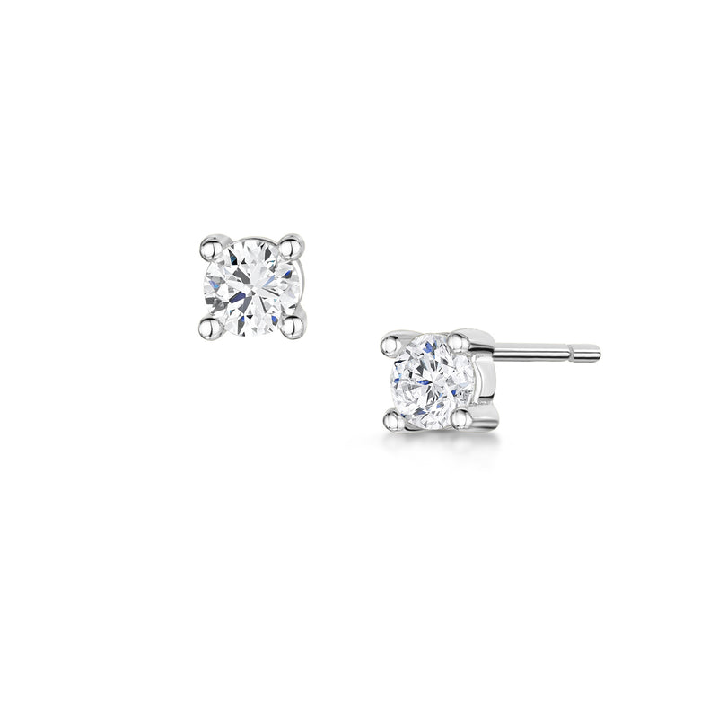 Anya Stud 4mm 4 Claw - Rhodium