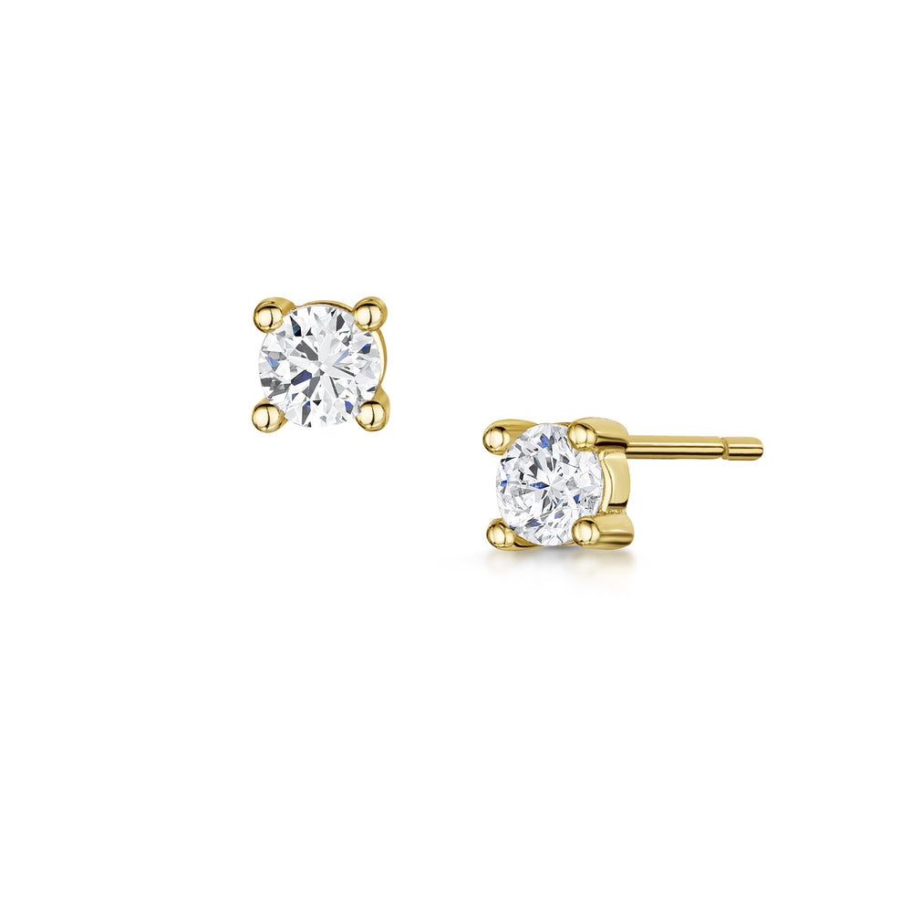 gold solitaire stud earrings