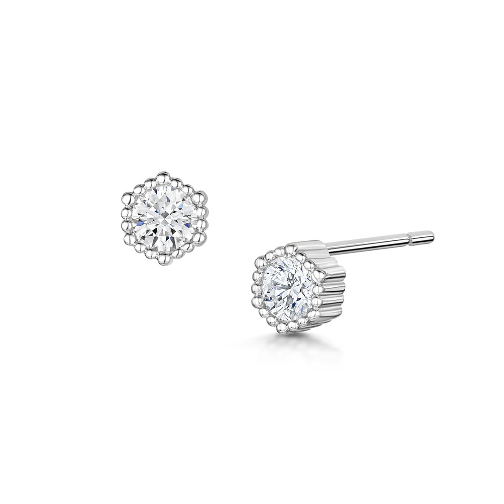 Load image into Gallery viewer, rhodium solitaire stud earrings